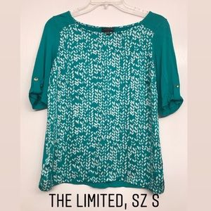 The Limited 3/4, mixed media teal green shirt.